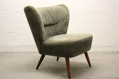 Cocktailsessel, Clubsessel, grau-grün, chair, grey, Germany 50s, 60s