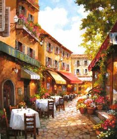 """""""Cafe du Jour"""" 24 x 20 oil on canvas by Paul Guy Gantner Paintings I Love, Beautiful Paintings, Painting & Drawing, Watercolor Paintings, Watercolors, Mode Poster, Pintura Exterior, Image Nature, Cafe Art"""