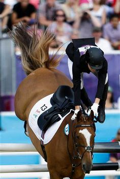I believe this could be a pentathlon rider. I've seen a few events and I have to say that a lot of the riders are of not great quality.