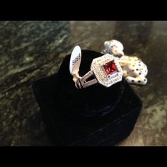 925 stamped Sterling silver ring Absolutely stunning Ruby surrounded by white topaz set in 925 stamped Sterling silver Jewelry Rings