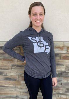 Springfield Heather Dark Grey SGF State Shape Long Sleeve T-Shirt Hood - 22784799
