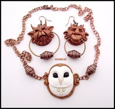 Knocker Earrings Labyrinth + Necklace White OWL by *buzhandmade on deviantART