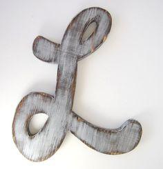 Hanging wood letters Letter L cursive letter  by OldNewAgain, $32.00