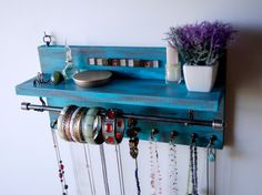 Necklace holder shelf. Jewelry organizer. Necklace display. wall mounted shelf. Bracelet holder. Jewelry storage. Turquoise distressed rack.