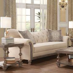 Larrick Fabric Tufted Leather Living Room Set