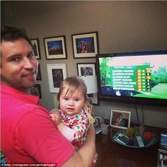 Doting dad: Jenna Bush Hager and her husband Henry Hager (pictured in April 2014), a former White House aide, welcomed Mila on April 13, 2013.