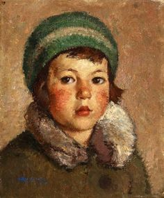 Child With Green Hat, Octav Angheluta (1904 – 1979, Romanian) I AM A CHILD-children in art history
