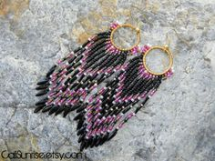 One of a Kind, Beautiful Piece!  Beaded Earrings Indian Style Earrings Pink & Black by CaliSunrise, $22.00