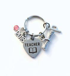 Graduation Gift for Teacher Keychain, 2018 Scroll Principal Teach charm Key chain Keyring Grad birthstone Initial letter for her women purse by aJoyfulSurprise on Etsy