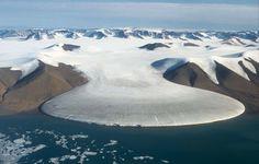 Greenland glacier emptying into the sea.