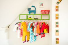 great idea for hanging baby and toddler clothes
