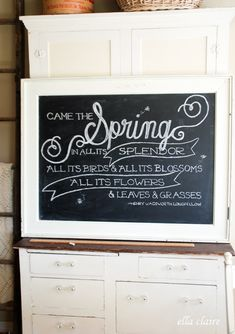 Spring Chalkboard Art - reminds me of Anne of Green Gables! Will definitely need to try the template with tutorial