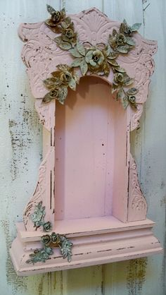 Pink Display Case Shrine Shabby Chic Ornate Wooden Distressed Embellished…
