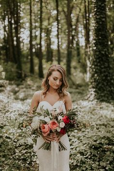Modern romantic bridal look from this forest wedding in Portland   Image by Olivia Strohm Photography