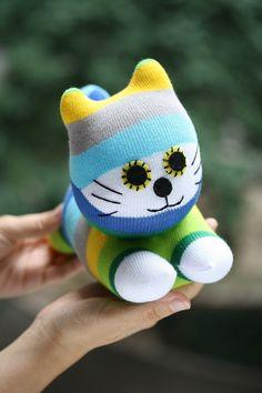 Gato de pelúcia boneca de brinquedo listras personalizado do gato T8 recheadas boneca de presente de aniversário eco handmade chuveiro dom baby doll C075