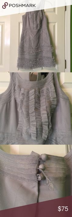 """BCBG Pearl Grey """"Annie"""" Dress BCBG Pearl Grey """"Annie"""" Dress - only imperfection is that the middle button hook is broken (could be sewn back or cut off). Only worn once. BCBG Dresses Mini"""