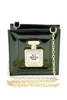 New Perfume Bottle Handbag Rhinestone Black Perfume Bottle Handbag Black  Purse 07d1559272