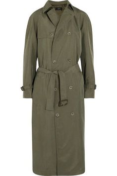 Military references were seen in abundance on Joseph's Spring '17 runway. Cut for a loose fit, this trench coat has been made in Italy from army-green washed-silk and detailed with classic gun flaps and storm shields. Continue the effortless feel with oversized shirting and wide-leg pants.
