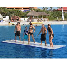 "Inflatable Walk On Water Mat - ""This is the inflatable mat that allows you to literally walk, run, or lounge on water."" The 90′ sq. float is enough space for sprinting, cartwheels, or cannon balls directly into your little brothers face."