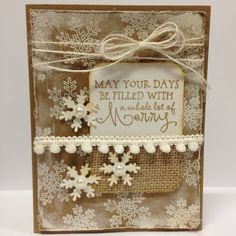 Hand stamped holiday card by Autumn Clark using the Merry & Bright set from Verve. #vervestamps