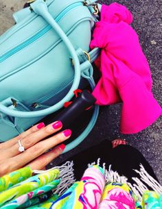 Bright travel outfit