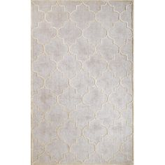 Showcasing an elegant trellis pattern in silver, this art silk and wool rug offers sophisticated style to your entryway or living room.
