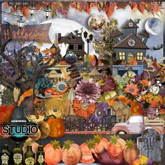 Digital Scrapbooking Studio October 2013 Mega: Small Town Halloween + 2 bonus products - Halloween in a small town begins with a parade down main street and a carnival in the city park.  There is a costume contest for the younger crowd, a haunted house for the older ones, and even entertainment for the parents. There will always be lots of warm drinks and homemade treats. What