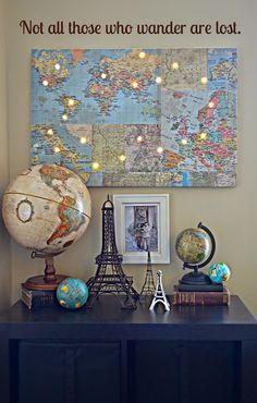 This cool map paper with lights is such an EASY project. It would be perfect for a Farewell, Homecoming, or a simple decoration.     We started with a foam core board from the dollar store and this BEAUTIFUL new paper from Hazel & Ruby!     Use Mod Podge to attach the paper to the