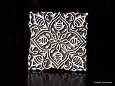 Tjaps, Indian wood stamps, Textile stamp, Pottery stamp, Woodblock Stamps - Square Floral Motif