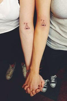 Best friend matching tipi tattoos from camp