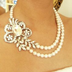 Pearl Bridal Necklace Vintage Wedding Jewelry Art by luxedeluxe