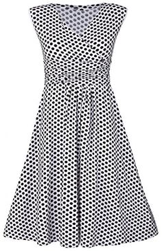 Glamour Empire Womens Polka Dot Skater Dress Sleeveless Empire Waist 110 White with Dots US 8 XL >>> Check this awesome product by going to the link at the image.