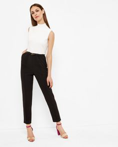 High neck ribbed jumpsuit - Black | Rompers & Jumpsuits | Ted Baker