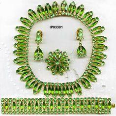 vintage lime green parure jewelry sets   parure fabulous c 1950 s unused czechoslovakian parure of necklace ...