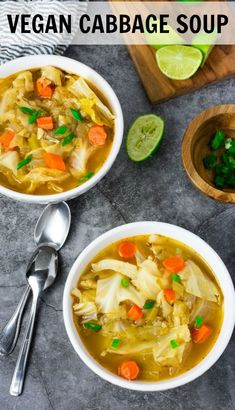 This Vegan Cabbage Soup recipe is warm, hearty and satisfying. I made mine using water for I was out of my homemade vegetable broth. Vegetarian Cabbage Soup, Cabbage Soup Diet, Cabbage Soup Recipes, Best Soup Recipes, Healthy Soup Recipes, Chili Recipes, Vegetarian Recipes, Dinner Recipes, Potato Recipes
