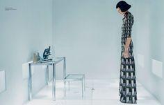 Josephine serves futuristic realness in a minimal room wearing a Gucci dress