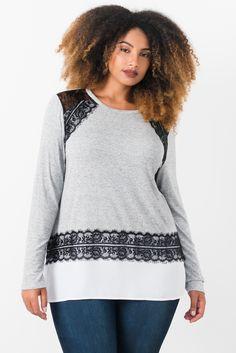 166e1b1599edd Suzy Shier Jersey Top With Lace Applique
