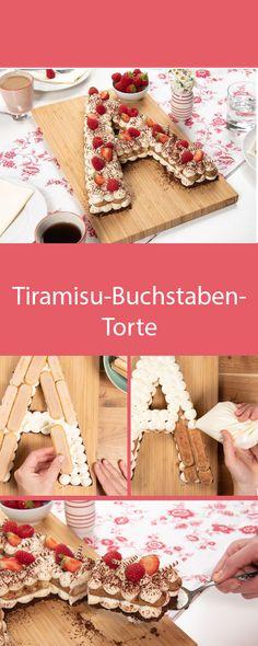 Tiramisu-Buchstaben-Torte Tiramisu prepared differently but still as tasty as ever: We will show you Alphabet Cake, Cake Lettering, Foundant, Monogram Cake, Forest Cake, Number Cakes, Cake Trends, Rustic Cake, Drip Cakes