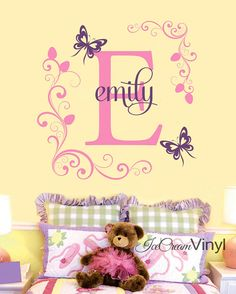 Butterfly Flower Name Wall Decal for Girls Boys by IceCreamVinyl