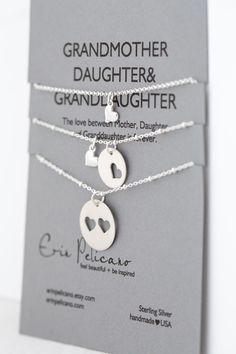 Grandmother Daughter Granddaughter Jewelry. Simple Delicate. Sterling Silver on Etsy, $135.00