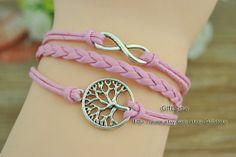 Tree of life bracelet  Infinity bracelet  Pink braided by GiftShow, $1.99 Fashion handmade bracelet,Christmas gifts