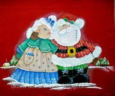 Coisas da Nil - Pintura em tecido: Papai e Mamãe Noel.