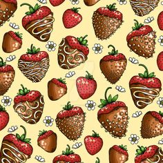 Delicious Chocolate Covered Strawberry Pattern. Ink with Digital Coloring. Janelle Dimmett 2016. www.janelledimmett.com.