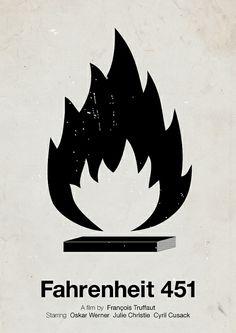 'Fahrenheit 451' pictogram movie poster by Viktor Hertz, via Flickr