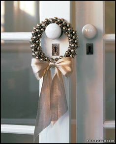 Jingle bell mini wreath - would also be pretty with pearls.