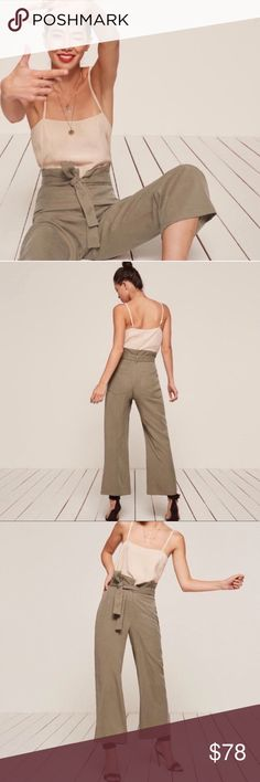 REFORMATION || Olive Khaki Gaucho Trousers REFORMATION || Olive Khaki Trousers ✘ Olive Khaki ✘ Size 10 ✘ 100% Tencel ✘ New Without Tags; Lost the tie around the waist.. the only loop hole is in the back so from the front it's not noticeable that there was a belt before. ✘ Brand IG: @reformation Make an offer!  I have new stuff daily, so don't forget to come back! Happy Shopping. ✘✘ Destiny Reformation Pants