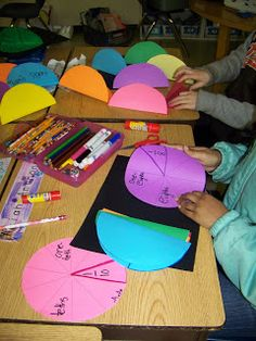 Circle Fraction Foldables: These already had the lines printed on them, for correctness. Cool idea!