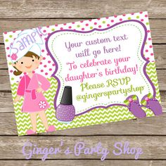Spa Party Invitation Printable Digital Invite by GingersPartyShop, $6.00