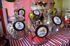 Candy jars at a Mickey Mouse Party #mickeymouse #partycandy