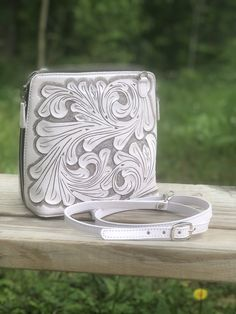 """Hand-Tooled Leather Large Crossbody """"Catalina"""" by ALLE more Colors"""